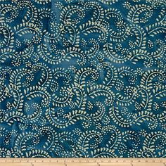 Indian Batik Hollow Ridge Scroll Vine  Blue/Natural from @fabricdotcom  From Textile Creations, this Indian batik is perfect for quilting, apparel and home decor accents. Colors include various shades of blue and tan.