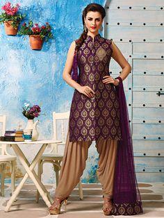 Purple Brocade Punjabi Suit