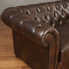 Shop Knightsbridge Brown Bonded Leather Tufted Scroll Arm Chesterfield Sofa by iNSPIRE Q Artisan - On Sale - Free Shipping Today - Overstock - 9497906 Grey Cushions, Seat Cushions, Tufted Leather Sofa, Deep Sofa, Sofa Dimension, Chesterfield Sofa, Spacious Living Room, Fabric Sofa, Traditional Design