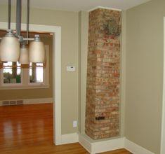 exposed brick chimney in kitchen Kitchen Wall Units, Kitchen Flooring, Kitchen Ideas, Bathroom Interior Design, Kitchen Interior, Kitchen Design, Kitchen Chimney, Plumbing Pipe Furniture, Industrial Style Kitchen