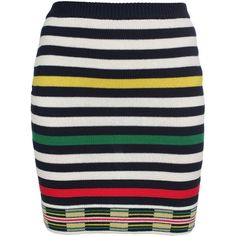 OPENING CEREMONY Multi-striped Cotton Knit Skirt ($160) ❤ liked on Polyvore featuring skirts, saias, dresses, faldas, gonne, navy multi, navy stripe skirt, navy blue skirt, stripe skirt and opening ceremony skirt