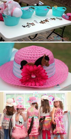 decorate a derby hat and also cute ribbon pony tails!