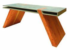 Esstisch kreatives Design Holz Betonelemente