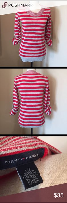 Tommy Hilfiger sweater Nwot, size small. Red and gray. Pet friendly smoke free home :) Tommy Hilfiger Sweaters Crew & Scoop Necks