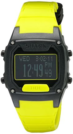 Freestyle Unisex 10022916 Shark Classic Tide Digital Display Japanese Quartz Yellow Watch. Two-tone sporty watch featuring contrast ribbed silicone band with buckle closure. 38 mm plastic case with mineral dial window. Japanese quartz movement with digital display. Features chronograph functions, customizable alarms, sunrise/sunset and tide information for 150 beaches, dual time, countdown timer/stopwatch, standard digital functions, and backlight. Water resistant to 100 m (330 ft).