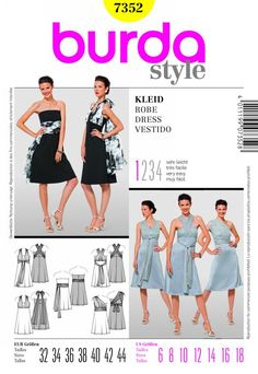 Burda Style, Dress Strapless dress with slightly flared skirt. Scarves, caught in the front seam, offer various styling possibilities. Burda Sewing Patterns, Clothing Patterns, Dress Patterns, Style Patterns, Diy Clothing, Sewing Clothes, Dress Sewing, Vestido Dress, Multi Way Dress