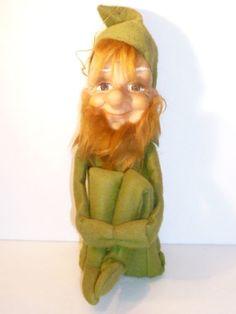 Vintage Green Hugging Knee Bearded Pixie Elf on A Shelf 1966 Kamar Japan | eBay