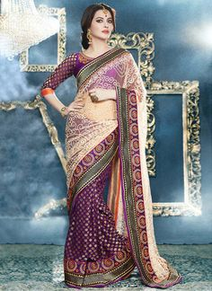 Charming Cream And Purple Viscose Net Half And Half Saree, Product Code : 2718, Shop Now : http://www.sareesaga.com/charming-cream-and-purple-viscose-net-half-and-half-saree_2718  Email :support@sareesaga.com, What's App or Call : +91-9825192886