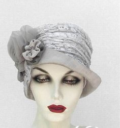 Womens Hat Edwardian Hats Vintage Style Downton Abbey Dove Grey Silver Lace Silk Fabric. $185.00, via Etsy.