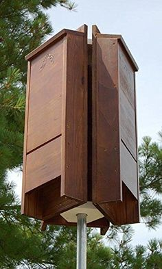 BestNest Premium Stained Triple Bat House Kit, 195 bats B… Bat House Plans, Bat Box, Outdoor Landscaping, Outdoor Decor, Owl House, Animal House, Kit Homes, Bird Houses, Habitats