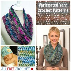 FREE GUIDE to crocheting with variegated yarn. There's no need to learn how to change color in crochet with these self-striping crochet patterns!