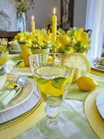 Dining Delight: Mother's Day Lemon Themed Tablescape Yellow Dinner Plates, Yellow Bowls, Lemon Centerpieces, Centerpiece Decorations, Mothers Day Dinner, Lemon Party, Spring Green, Dinner Table, Tablescapes