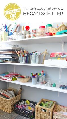 Learn how to set up creativity hubs, or tinkerspaces, for your child's art supplies..