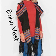 Boho Stripe Pattern Vest With Tassels On Bottom