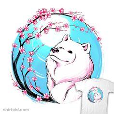 Samoyed Sakura | Shirtoid #cherryblossoms #dog #dogs #sakura #samoyed #tobefonseca #tobiasfonseca