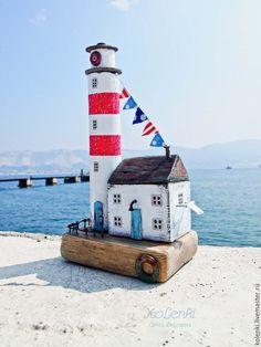Купить Маяк с домиком смотрителя driftwood - ярко-красный, маяк, маяк дрифтвуд, маяк driftwood