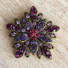Sparkling vintage brooch with colored crystals by LaceArtGallery