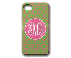 $49.95 Hot Pink/Lime Squared Personalized iphone cover from Paper Concierge
