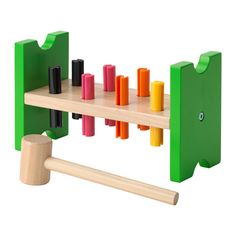 IKEA - MULA, Toy hammering block, , Helps the child develop fine motor skills and hand/eye co-ordination.You're allowed to bang as much as you like on this block and when all the plugs are down, you can start all over again.Let your child hammer or push the plugs into the holes, again and again.