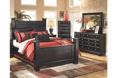 Whether your home has a contemporary, traditional or eclectic touch, the Shay bedroom set has that kind of versatility sure to fit right in. Dark and dramatic, the barely black finish is ever classic. Queen bed's oversized posts and finials add a substantial feel, while scalloped footboard base softens the look with shapely flair. Loaded up with nickel-tone knobs, the dresser with mirror is dressed to impress. Mattress and foundation