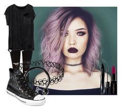 """""""Grunge #5 (Read D.)"""" by temper61 ❤ liked on Polyvore featuring River Island, Converse, Smashbox and Lancôme"""