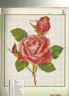 -de-X-roses/d'altres-flors. Cute Cross Stitch, Cross Stitch Rose, Cross Stitch Borders, Cross Stitch Flowers, Cross Stitch Charts, Cross Stitch Designs, Cross Stitching, Cross Stitch Embroidery, Cross Stitch Patterns