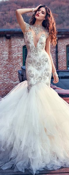 Attractive Tulle Illusion High Neckline Mermaid Wedding Dress With Beaded Embroidery