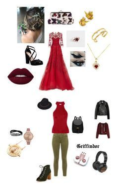"""""""Griffindor Women"""" by cass-is-fangirling on Polyvore featuring Monique Lhuillier, Nina, Gurhan, Yves Saint Laurent, Lost Ink, Olivia Burton, PhunkeeTree and The House of Marley"""