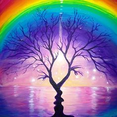 The tree of the kiss under the rainbow of love