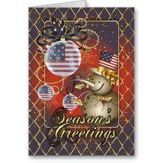 U.S.A. Patriotic Christmas Card - Snowman with US flag ornaments