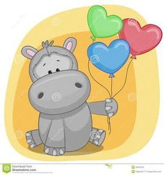 Find Greeting Card Hippo Balloons stock images in HD and millions of other royalty-free stock photos, illustrations and vectors in the Shutterstock collection. Baby Elephant Drawing, Baby Animal Drawings, Baby Hippo, Baby Animals, Cute Animals, Savanna Animals, Cute Images, Cute Pictures, Baby Painting