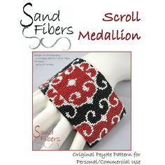 Peyote Pattern - Scroll Medallion Peyote Cuff / Bracelet  - A Sand Fibers For Personal/Commercial Use PDF Pattern