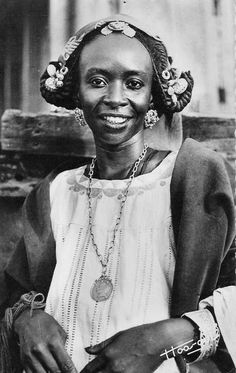 Africa | Young Fulani woman.  Senegal | Scanned old postcard; publisher Hoa-Qua