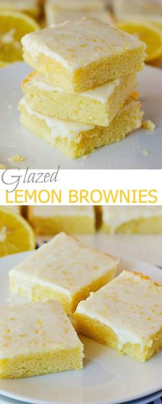 Glazed Lemon Brownies They are difficult to keep in one piece to serve, but the lemon taste is delish!!