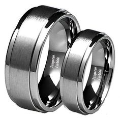 His and Her's 8MM/6MM Brushed Center Step Edge Tungsten Carbide Wedding Band Ring Set -- Read more reviews of the product by visiting the link on the image.