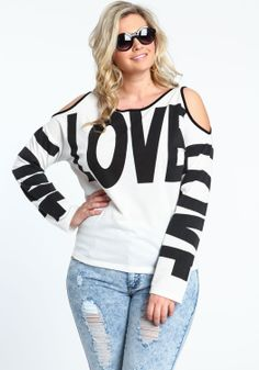 Love this casual NY look  Plus Size Coldshoulder Love Tee - Love Culture
