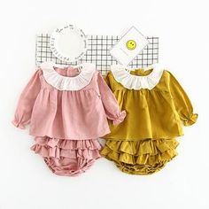 Toddler Baby girl 2PCs Clothes Sets cotton Tops Shirt Blouse+Short ruffles Pleated Pants cute Outfits Set Twinset drop shipping