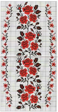 This Pin was discovered by Хри Cross Stitch Rose, Cross Stitch Borders, Cross Stitch Flowers, Cross Stitch Designs, Cross Stitching, Cross Stitch Patterns, Folk Embroidery, Cross Stitch Embroidery, Embroidery Patterns