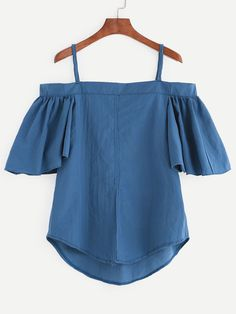 Blue Cold Shoulder Ruffled Sleeve Top.