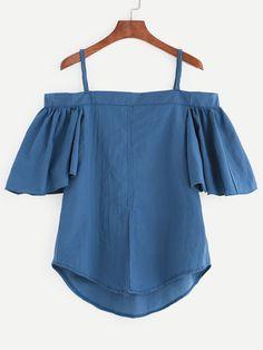 Blue Cold Shoulder Ruffled Sleeve Top.                                                                                                                                                                                 Más