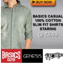 #MyDiscountoffer By Basiclife : Get casual Shirts with 100% Cotton, Starts at just @ Rs.849 only.