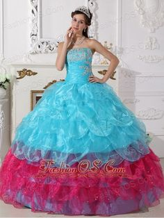 Popular Aqua Blue and Hot Pink Quinceanera Dress Strapless Organza Appliques Ball Gown  http://www.facebook.com/quinceaneradress.fashionos.us  http://www.youtube.com/user/fashionoscom?feature=mhee  This fashional ball gown quinceanera dress is extremely attractive whenever you show up. Neat bodice is decorated by exquisite embroidery on the bust. Latest design of the skirt features a petal style.