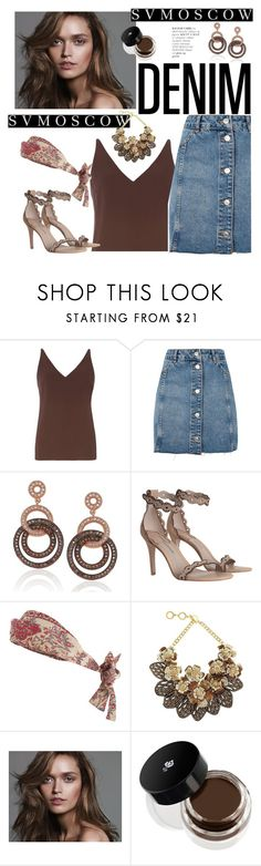 """DENIM"" by fanfanfanfannnn ❤ liked on Polyvore featuring Dorothy Perkins, Topshop, Suzy Levian, Zimmermann, Forest of Chintz and Lancôme"