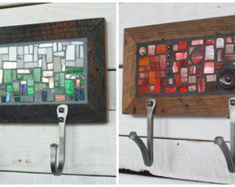Two Hook Custom Coat Rack, Mosaic Coat Rack, Hand-forged Entryway Coat Hooks, Wall Coat Rack, Reclaimed Wood Frame Reclaimed Wood Frames, Barn Wood Frames, Mosaic Crafts, Mosaic Projects, Entryway Coat Hooks, Key Rack, Rack Design, Wall Mounted Coat Rack, Texture