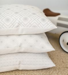 Dove Grey and Off White Linen Cushions from Jane Hornsby