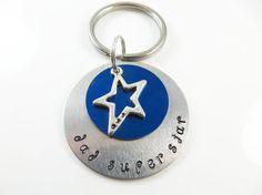 Hand stamped  dad super star  keychain by jewelryandmorebykat