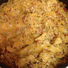 Southwest chicken!!!! We make This often... SO easy and SOOO yummy!!   Chicken tenderloins-cut into small squares, 2 cups instant rice, 1 taco seasoning, 1 can rotel, grated cheese.   Cook chicken in skillet. Add 1 1/2 cups water, taco seasoning and rotel.  Heat to boiling. Add 2 cups instant rice. Stir, remove from heat and cover. Once water is absorbed, stir and top with cheese. Let cheese melt and voila!! Dinners served! Eat with tostitos, tortillas or by itself!