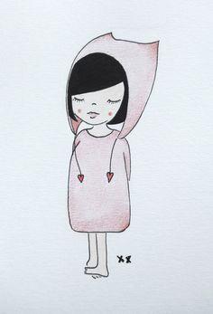 meisje illustratie | girl illustration | kids room | kinderkamer www.kinderkamervintage.nl