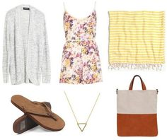 Summer Days: What to Wear This Weekend, Part 2 - College Fashion floral romper, flip flops, scarf, sweater