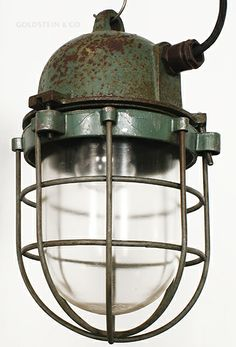 This lamp designed for working in potentially explosive atmospheres was made by EOW. Comes with a ceramic socket for E27 bulbs.